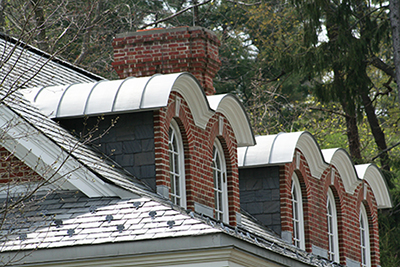 Copper and Slate Roof with Snow Guards -- Greenwich, CT